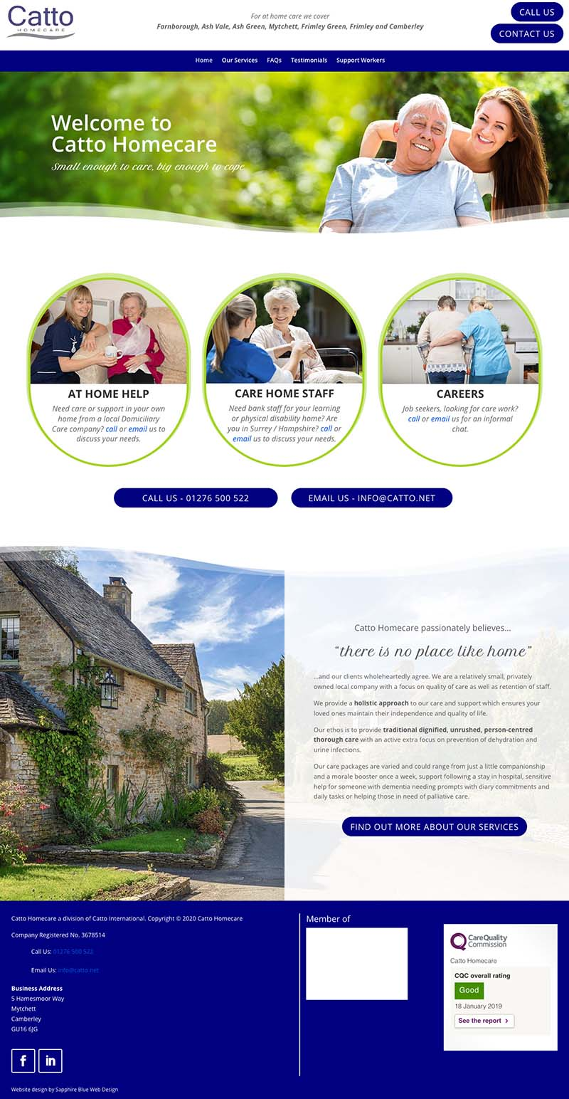 This shows a full page version of the home page for Catto Homecare